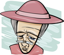 Royalty Free Clipart Image of an Elderly Woman in a Hat
