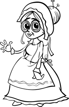 Black and White Cartoon Illustration of Grandmother Character from Little Red Riding Hood Fairy Tale for Coloring Book