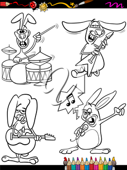 Coloring Book or Page Cartoon Illustration of Black and White Funny Rabbits Playing Rock Music and Singing for Children