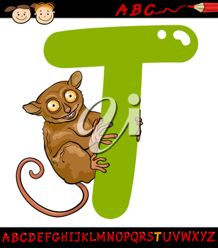 Cartoon Illustration of Capital Letter T from Alphabet with Tarsier Animal for Children Education
