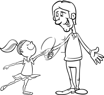 Black and White Cartoon Illustration of Father and Little Daughter Dancing Ballet for Coloring Book