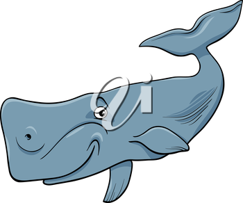 Cartoon Illustration of Funny Whale the Largest Sea Mammal