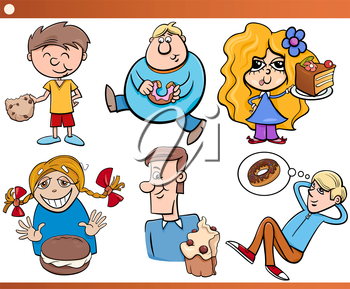Cartoon Illustration of Children and Teens with Sweet Cakes or Cookies Set
