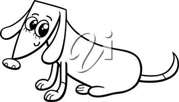 Black and White Cartoon Illustration of Cute Female Dog or Puppy for Coloring Book