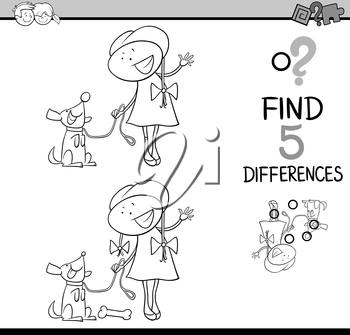 Black and White Cartoon Illustration of Finding Differences Educational Activity Task for Preschool Children with Girl and her Dog for Coloring Book