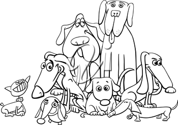 Black and White Cartoon Illustration of Dogs Animal Characters Coloring Book