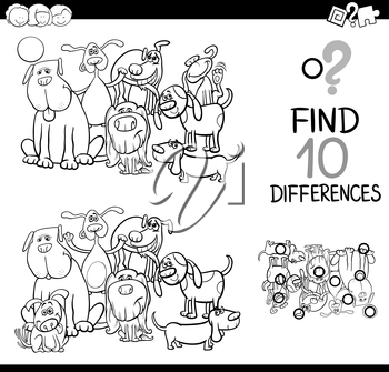 Black and White Cartoon Illustration of Finding Differences Educational Activity for Children with Dogs Animal Characters Coloring Page