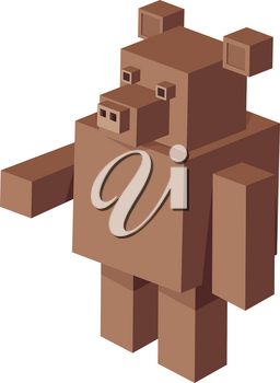 Cartoon Illustration of Cubical Bear Animal 3d Game Character