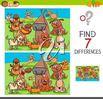 Cartoon Illustration of Finding Differences Between Pictures Educational Activity Game for Children with Dogs Animal Characters Group