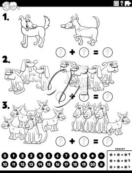 Black and White Cartoon Cartoon Illustration of Educational Mathematical Addition Puzzle Task with Comic Dogs Coloring Book Page