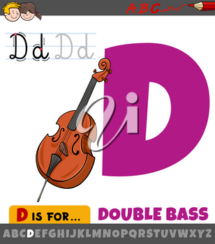 Educational cartoon illustration of letter D from alphabet with double bass musical instrument for children