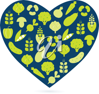 Royalty Free Clipart Image of a Heart With Vegetables