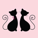 Cat male and female in love. Vector Illustration