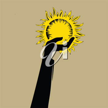 Royalty Free Clipart Image of a Hand Holding a Sun