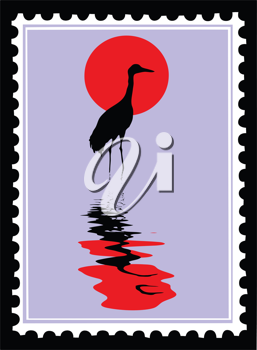 Royalty Free Clipart Image of a Crane Postage Stamp
