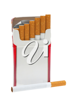 Open pack of cigarettes and a cigarette on a white background.