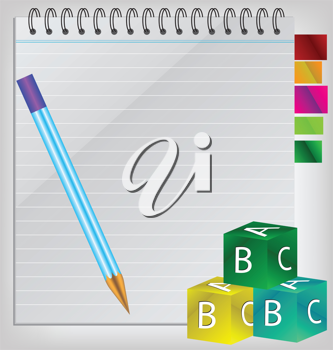 Royalty Free Clipart Image of a Notepad With Blocks and a Pencil