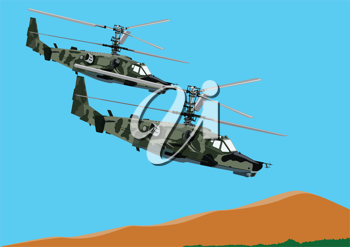 Royalty Free Clipart Image of Combat Helicopters