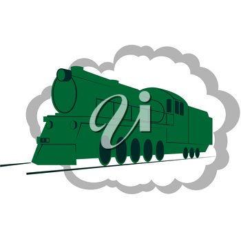 Abstract image of an old railway equipment. The illustration on a white background.