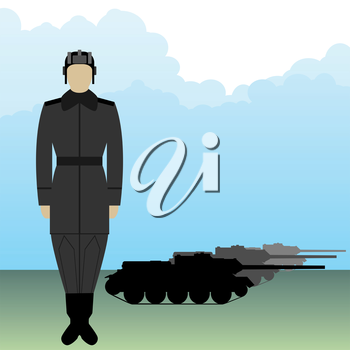Soldier in uniform tanker on a background of armored vehicles. The illustration on a white background.