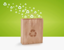 paper bag with recycle signs, Ecological awareness concept.