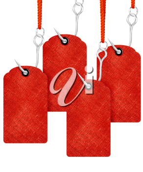 Red price tags with fishing hook isolated on white background.