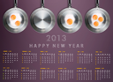 New year 2013 Calendar with conceptual image of Fried eggs in a frying pans creating 2013 year number.