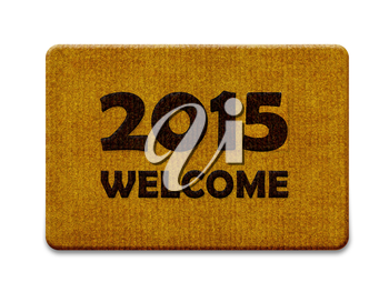 Happy new year 2015, welcome doormat carpet isolated on white. the same concept available for 2016 year. (clipping path included)