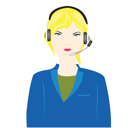 Royalty Free Clipart Image of a Woman Wearing a Headset