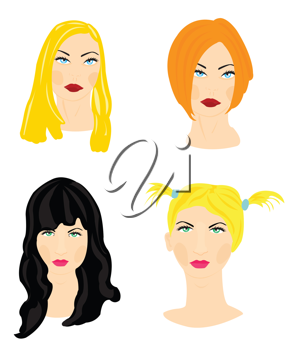 Royalty Free Clipart Image of Four Women