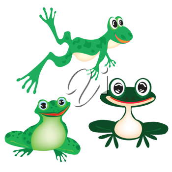 Royalty Free Clipart Image of Three Cartoon Frogs