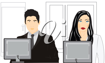 Royalty Free Clipart Image of a Man and a Woman at Computers