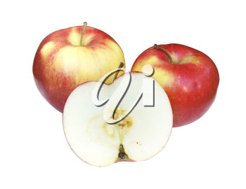 Three ripe apples on white background is insulated