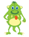 Cartoon of the green crock on white background