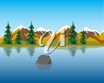 The Beautiful lake in mountain amongst wood.Vector illustration