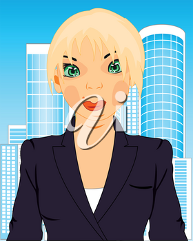 Making look younger attractive girl in office with type on city