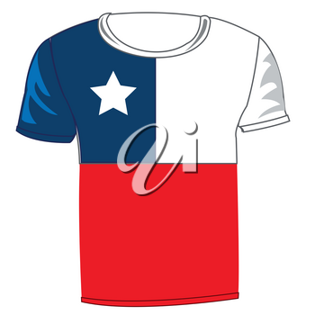 T-shirt flag Chile on white background is insulated