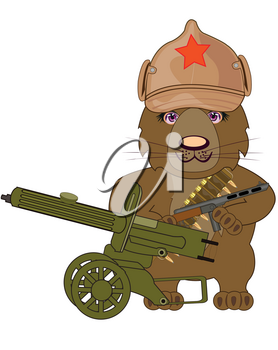 Cartoon russian bear revolutionary with weapon of the timeses of the civil war