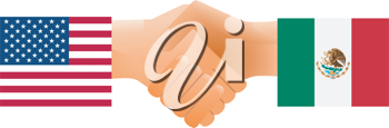 Royalty Free Clipart Image of a Symbol of United States and Mexico Shaking Hands
