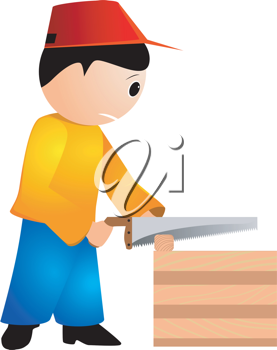 Royalty Free Clipart Image of a Carpenter Working a Chainsaw.
