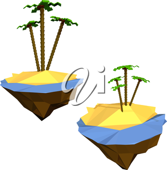 Tropical otsrov with palm trees and the sea, the ocean isolated on white background. Low poly style. Design vacation, travel, holiday themes. Vector illustration.