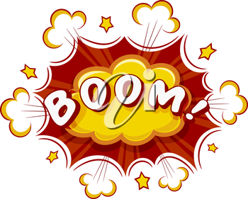 Colored Cartoon explosion BOOM! Cartoon explosion on a white background. Comic speech bubble BOOM! Stock vector