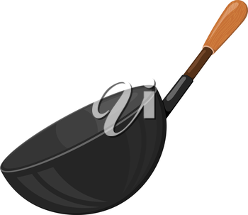 Cartoon vector image of a black frying pan with a wooden handle on a white background. Kitchen utensils. Accessory for the kitchen. Stock vector illustration