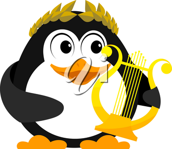 Young penguin with lyre. Cartoon image of a small penguin with an ancient lyre and a 