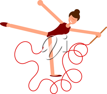 Abstract figure of a girl with a red ribbon. Athlete of rhythmic gymnastics on a performance with a red sports tape. Flat style. Vector illustration