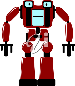 Strong futuristic toy robot with a square body and stocky limbs standing facing the viewer, vector clipart illustration on white