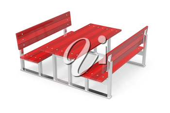 Red garden benches and table