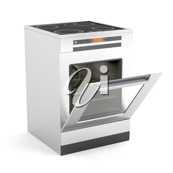 Royalty Free Clipart Image of an Electric Oven With the Door Open