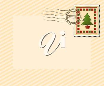 Royalty Free Clipart Image of an Envelope With a Christmas Tree Stamp