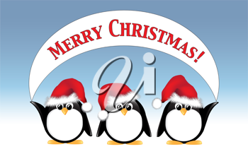 Royalty Free Clipart Image of Penguins Holding a Merry Christmas Message